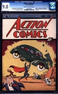A CGC graded 9.0 first issue of Action Comics, featuring Superman, has set a record $2.16 million for a single comic book.