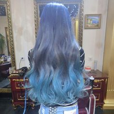 chalky pastel blue ombre #ombre #blue #hair #dyedhair