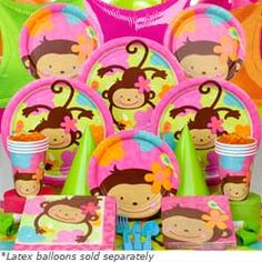 Floral Monkey Party Supplies for a Jungle Party or Luau