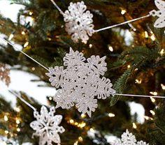 Glitter Snowflake Garland #PotteryBarnKids