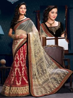 Maroon and Cream Georgette and Net Embroidered Lehenga Style Saree