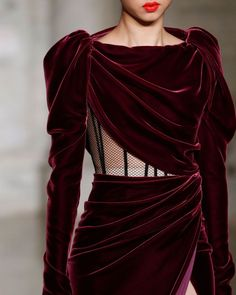 "Oscar de la Renta on Instagram: ""Into the fold. A close-up on #odlrfall2020 exposed corsetry and draped merlot velvet."""