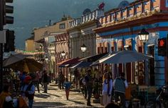 Walking along Ave Guadeluope in San Cristobal, Mexico