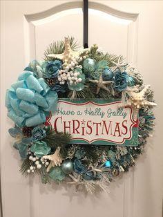 Coastal Christmas Decor, Nautical Christmas, Tropical Christmas, Beach Christmas, Christmas Themes, Christmas Holidays, Christmas Wreaths, Holiday Decor, Christmas Arrangements