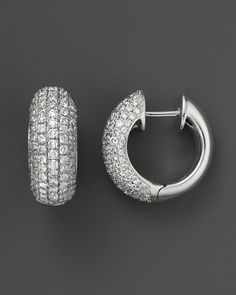 Diamond Pave Huggie Earrings in 14K White Gold, 1.50 ct. t.w.