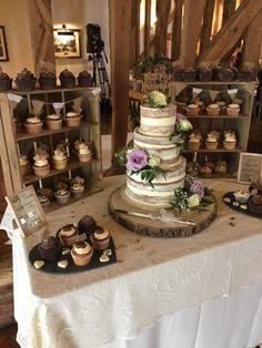 Rustic semi naked wedding cake and cupcakes Wedding Cake Rustic, Rustic Cake, Rustic Cupcake Stands, Wedding Cake Stands, October Wedding, Fall Wedding, Our Wedding, Wedding Ideas, Wedding Cakes With Cupcakes