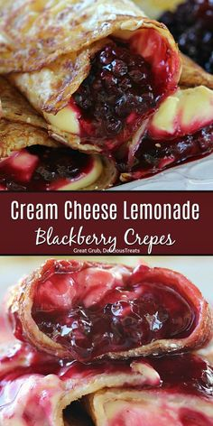Cream Cheese Lemonade Blackberry Crepes are a delicious crepes recipe filled with cream cheese lemonade filling and fresh blackberries. Cream Cheese Crepe Filling, Crepes Filling, Cream Filling Recipe, Healthy Crepes, Savory Crepes, Brunch Recipes, Sweet Recipes, Pancake Recipes, Waffle Recipes