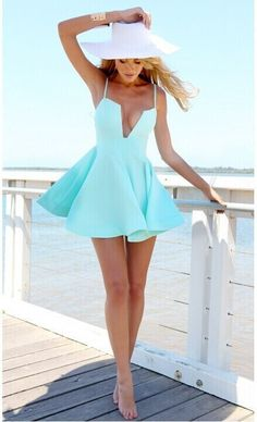 Cheap Sexy V Neck Spaghetti Strap Sleeveless Blue Polyester Mini Dress_Womens Dresses_LovelyWholesale | Wholesale Shoes,Wholesale Clothing, Cheap Clothes,Cheap Shoes Online. - LovelyWholesale.com