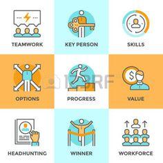 pictogramme: icônes de ligne de conduite avec des éléments plats de conception de personnes d'affaires le travail d'équipe, la croissance du développement personnel, valeur clé de la personne, le processus de chasseurs de têtes, des compétences de chef d'équipe. Collection moderne concept de vecteur pictogramme.