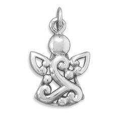 Cut Out Design Sterling Silver Angel Pendant