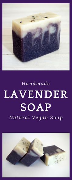 Lavender Soap - Handmade Soap - All Natural Vegan Soap with Cocoa Butter - Natural Soaps #lavendersoap #handmadesoap #vegansoap #naturalsoap #ad