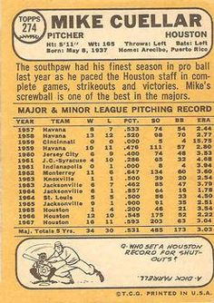 1968 Topps #274 Mike Cuellar Back