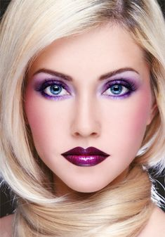Great pink and purple makeup....love the purple all around