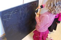 Canvas painted with blackboard paint