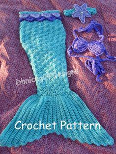 Mermaid Costume 4 Piece Set Crochet Pattern by DbnicegirlDesigns