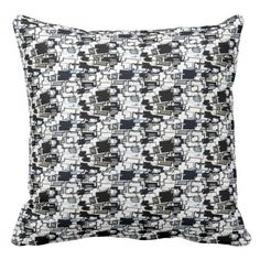 Black+White+Grey+GEOMETRIC+Print+Pillow