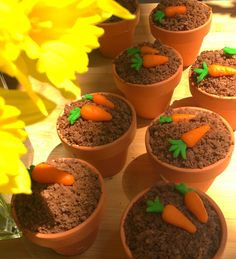 Carrot cake in a clay pot with marzipan carrots -  A revised cake from my childhood memories.