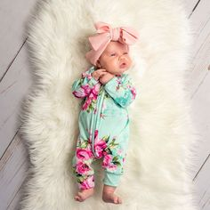 Aqua W / Pink Floral PJ Fashion Ideas - Baby interests Winter Newborn, Baby Winter, Newborn Girl Outfits, Baby Girl Newborn, Baby Outfits, Cute Kids, Cute Babies, Baby Boutique Clothing, Everything Baby