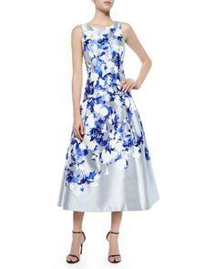 TA7JS Kay Unger New York Satin Floral Tea-Length Cocktail Dress, Gray/Blue