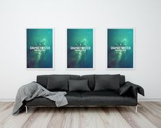 Free Triple Poster Frame With Sofa Mockup (66.7 MB) | Graphic Twister