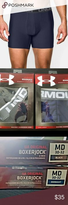 """Under Armour Original Boxerjock (pair) Color: Midnight/Black  Size: M ( 30-32)  Inseam: 6"""" inch   Performance-fabric underwear isn't just for the gym, so pull on the Under Armour Original Series Printed Boxerjock boxer briefs and enjoy moisture-wicking technical fibers, comfortable four-way stretch fabric and chafe-reducing seams all day long.   Moisture Transport System wicks moisture and dries quickly  Four-way stretch fabric and articulated fly panel enhance freedom of movement  Flatlock…"""