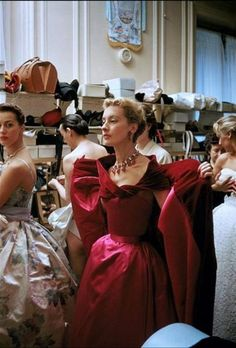 Backstage at the Pierre Balmain couture show, 1954. Photo by Mark Shaw.