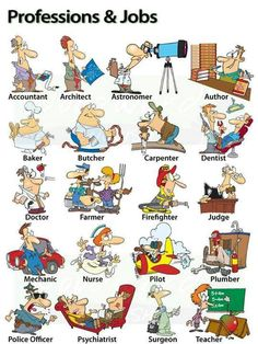 A cartoon chart showing different Professions and Jobs in English with some activities to help you learn vocabulary about them. English Fun, English Idioms, English Study, English Words, English Vocabulary, English Grammar, Teaching English, Learn English, English Language