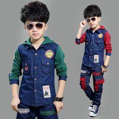 Children Boys clothing set autumn teenage jeans Denim Boys sport suit school…