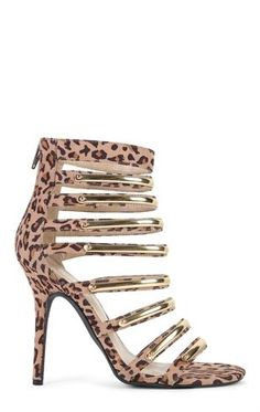 Deb Shops Strappy Leopard Print High Heels with Gold Plated Trim