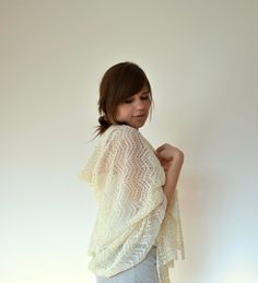 Ivory Linen Scarf / Shawl / Stole by BVLifeStyle on Etsy