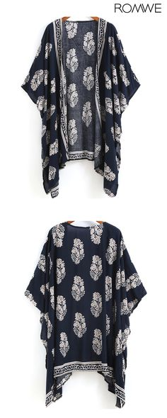Shop Navy Vintage Floral Loose Kimono at ROMWE, discover more fashion styles online. Hippie Style, Looks Style, Style Me, The Cardigans, Look Fashion, Womens Fashion, Mode Jeans, Mode Plus, Up Girl