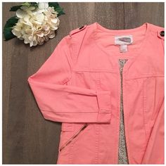 F21 jacket with crochet back- worn once! Adorable forever 21 salmon jacket- perfect for springtime! Has such a cute crochet back for a little extra something. Cuff sleeves, side pockets, no collar, button details, etc. 100% cotton, size: S Forever 21 Jackets & Coats