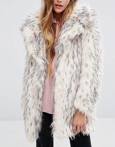 Bild 3 von Glamorous – Mantel aus Schneeleoparden-Kunstpelz mit Schalkragen