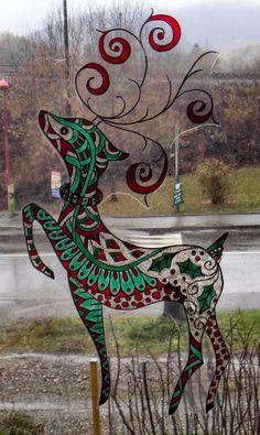 WICOART WINDOW COLOR STICKER STATIC CLING CHRISTMAS NOEL DOODLE RENNE CERF DEER