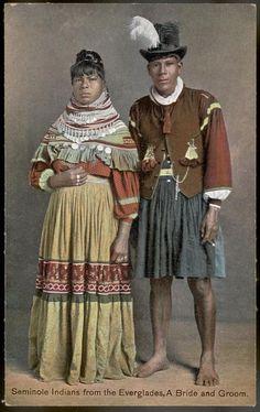 Seminole Indians from the Everglades. A Bride and Groom, circa 1895 Native American Photos, Native American Women, Native American History, American Indians, American Symbols, Cherokee, Seminole Patchwork, Slimming World, Seminole Indians