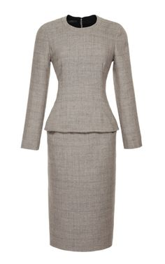 Shop Wool Blend Belted Peplum Dress by Calvin Klein Collection Now Available on Moda Operandi