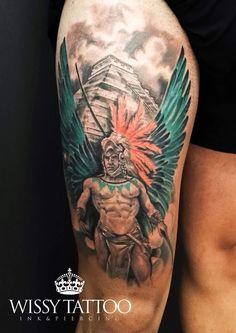 #WISSY TATTOO #sevilla #spain #jennifertorres #tattoo #tatuaje #ink #inked #instatattoo #tattooart #tattooartist #tattooed #azteca #guerrero #piramide #templo #warrior #aztec #pyramid #alas #wings #leg #pierna  www.wissytattoo.com