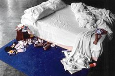 "Tracey Emin - My Bed (1998)  The artist's bed, presented in the state she claimed it had been while in the midst of a suicidial depression brought on by relationship difficulties. Empty booze bottles, cigarette butts, stained sheets, worn panties, ""the bloody aftermath of a nervous breakdown"", My Bed was a scandalous installation in its day and though it wasn't the winner of the Turner Prize, its notoriety has persisted."