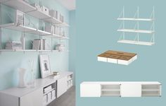 BESTÅ white wall cabinets with slding doors and EKBY JÄRPEN/EKBY GÄLLÖ white wall shelves I love the paint color and the background color