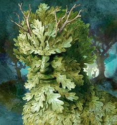 """Green Man: A symbol of rebirth, or """"renaissance,"""" representing the cycle of growth each spring; a Green man is represented as a man with foliage making up his face and sometimes body. Wicca, Symbole Viking, Celtic Green, Green Knight, Tree Faces, Nature Spirits, Celtic Symbols, Man Images, Gods And Goddesses"""