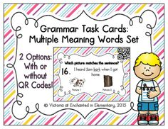 Grammar Task Cards: Multiple Meaning Words Set from Enchanted in Elementary on TeachersNotebook.com -  (15 pages)  - Enchanted in Elementary: Grammar Task Cards: Multiple Meaning Words Set