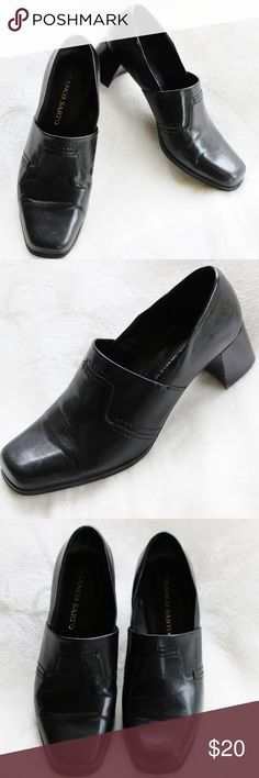 FRANCO SARTO Black Leather Loafers - Size 9.5M These black leather loafers are size 9 1/2 medium. However, they fit on the wider side. They have been very gently loved. They are in very good condition. The heel measures 2 inches high. Franco Sarto Shoes Flats & Loafers