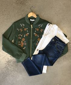 Whats better than an olive green bomber jacket? An olive green bomber jacket with floral detail 🌼 Boutique Shop, Fashion Boutique, Olive Green, Spring Fashion, Casual Outfits, Bomber Jacket, Embroidery, Detail, Jeans