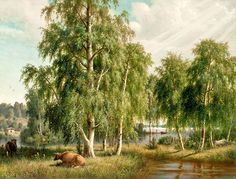Summer Landscape by Ferdinand von Wright, 1877 Summer Landscape, Landscape Art, Landscape Paintings, Cultural Identity, Art Academy, Romanticism, Ferdinand, Old Art, Hd Wallpaper