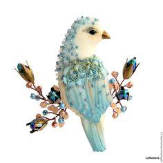 Купить Брошь- птица «Виола».Текстильная брошь-птичка на ветке. - брошь птица