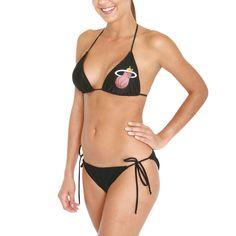 Miss Fanatic Miami Heat Women's Game Girl Triangle String Bikini Set - Black - $39.89