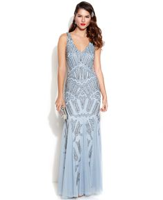 This dramatic art deco-inspired Adrianna Papell gown is perfect for the #unconventionalbride, or a #glam #bridesmaids dress! -TMVS