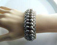 Miriam Haskell Baroque Pearl and Rhinestone Cuff Bracelet  Unique vintage, antique, costume and estate jewelry.