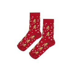 Topshop Christmas Gingerbread Elf Socks ($4.34) ❤ liked on Polyvore featuring intimates, hosiery, socks, red, ankle socks, christmas hosiery, patterned hosiery, red ankle socks and short socks