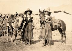 Cowgirl twins Etheyle and Juanita Parry performed with Buffalo Bill's Wild West in the early 1900s and later with the Barnum & Bailey's circus. One of their roping and riding routines involved a runaway stagecoach. Etheyle (at right) would leap off of the out-of-control vehicle onto a horse running alongside the stage. Juanita (at left) would rope a fixed object from the driver's seat of the stage, then bring the team of horses to an abrupt stop.